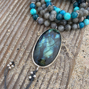 Labradorite, Apatite and Amazonite Mala with Labradorite Guru Bead
