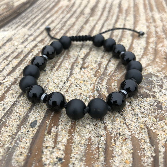 Matte and Polished Black Onyx 8mm Adjustable Beaded Bracelet with Hematite Spacers