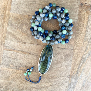 Labradorite, Blue Kynite and Jade Mala One Of a Kind with Labradorite Guru Bead