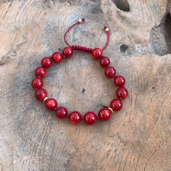 Red Coral Adjustable Beaded Bracelet 8mm