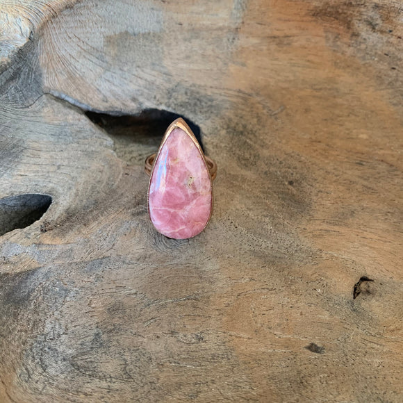 Rhodochrosite Teardrop Ring in Rose Gold