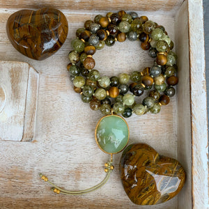 Green Garnet, Tiger's Eye & Pyrite Mala with Chrysoprase Guru Bead
