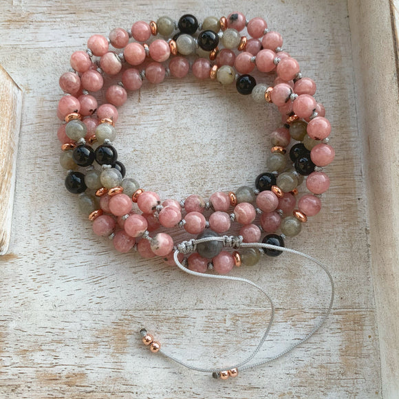 Rhodochrosite, Labradorite and Black Tourmaline Adjustable Mala 6mm