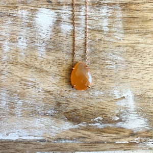 Silver- Carnelian Quartz Dainty Sterling Silver Necklace in Rose Gold