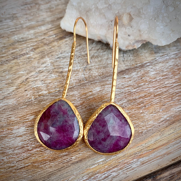 Ruby Gold Plated Earrings