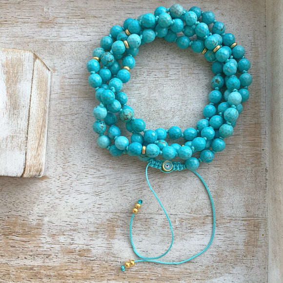 Mediterranean Turquoise Adjustable Mala with Eye of Protection Guru Bead 6mm