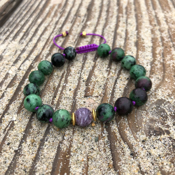 Charoite & Ruby Zoisite 8mm Adjustable Beaded Bracelet with Gold Accents
