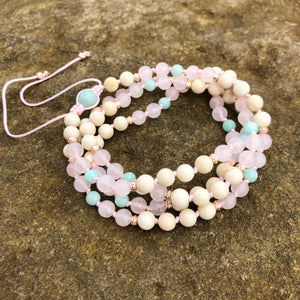 Rose Quartz, White Turquoise & Amazonite Mala
