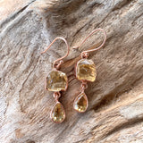 Silver - Citrine and Orange Calcite Earrings