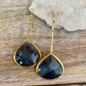 Sapphire Gold Plated Earrings