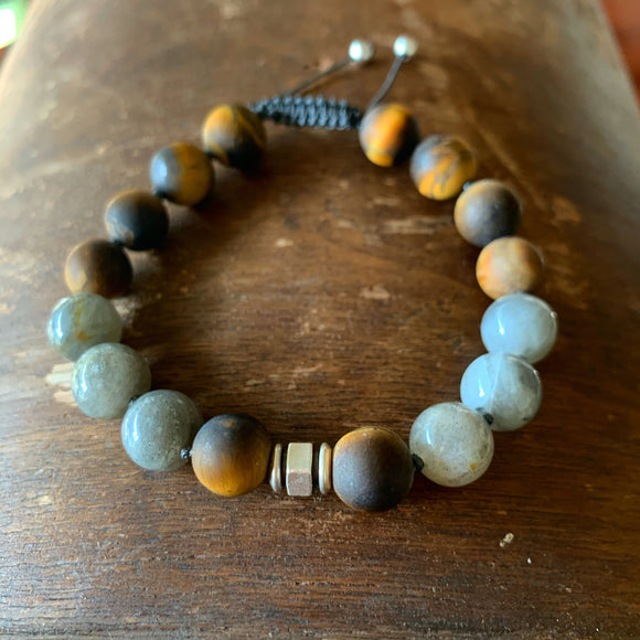 Matte Tiger's Eye & Labradorite Adjustable Beaded Bracelet