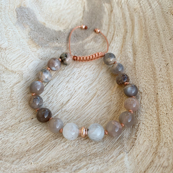 Sunstone and Moonstone Adjustable Beaded Bracelet 8mm