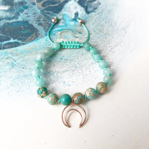 Amazonite & Sea Sediment Jasper 8mm Adjustable Beaded Bracelet with Crescent Moon Available with Gold, Rose Gold or Silver Accents and in Children's Size