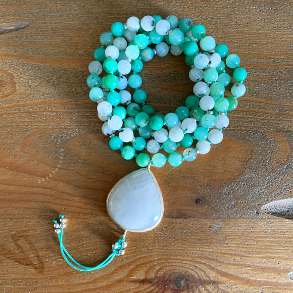 Moonstone and Chrysoprase Mala with Moonstone Guru Bead