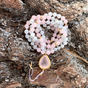 Rose Quartz & Moonstone Mala with Rose Quartz Guru Bead