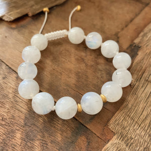 Moonstone 10mm Adjustable Beaded Bracelet with Gold Accents