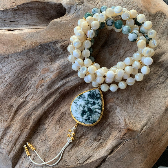 Moss Agate and White Shells Mala with Moss Agate Guru Bead