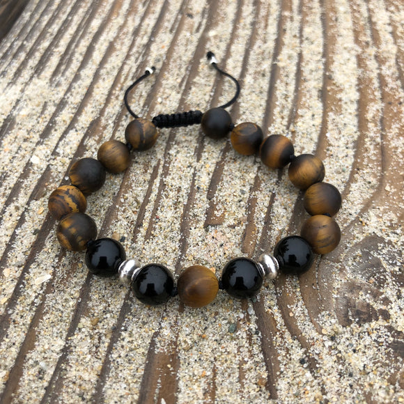 Black Onyx & Matte Tiger's Eye 8mm Adjustable Beaded Bracelet with Silver Accents