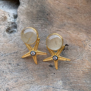 Silver - Rutilated Quartz Starfish Earrings in Gold