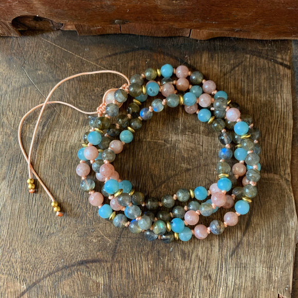 Amazonite, Labradorite & Sunstone Adjustable Mala 6mm