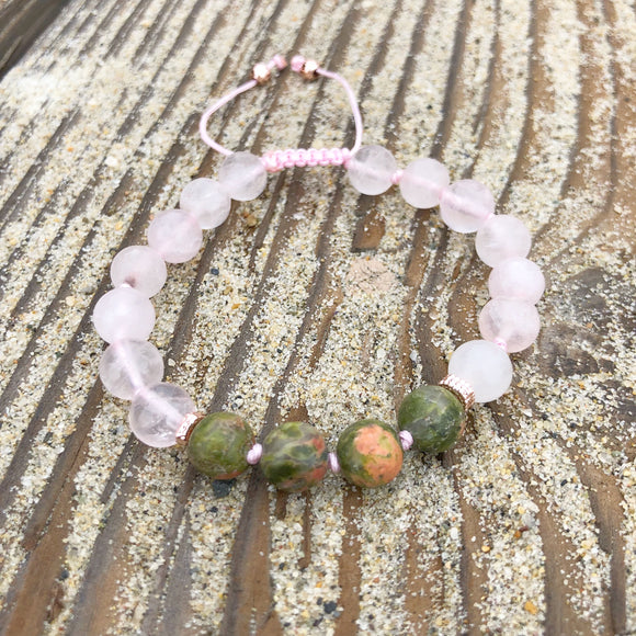 Matte Rose Quartz & Unakite 8mm Adjustable Beaded Bracelet with Rose Gold Accents