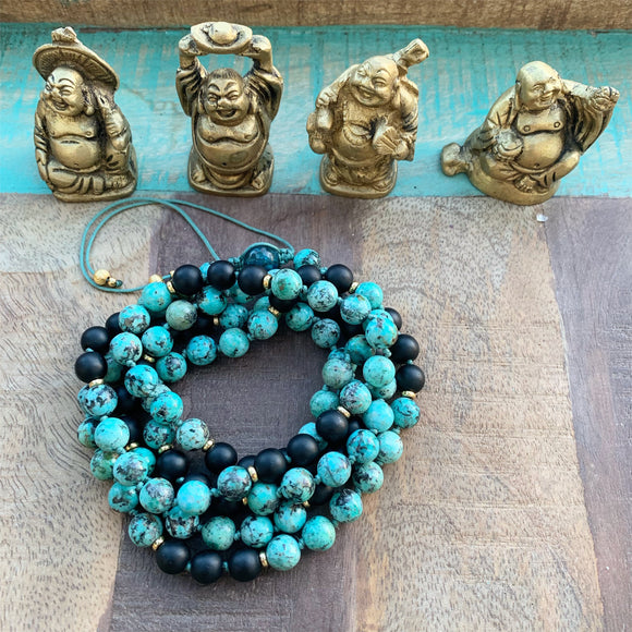 African Turquoise and Matte Black Onyx Adjustable Mala with Apatite Guru Bead