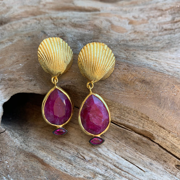 Silver - Pink Tourmaline Shell Earrings in Gold