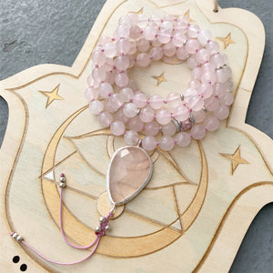 Rose Quartz Mala with Rose Quartz Guru Bead