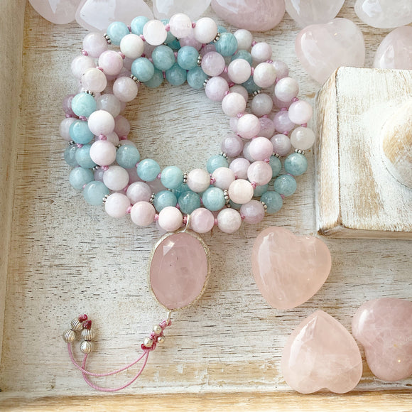 Kunzite & Aquamarine Mala with Rose Quartz Guru Bead