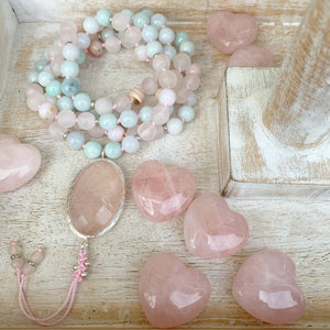 Pink Opal, Burma Jade and Rose Quartz Mala with Rose Quartz Guru Bead