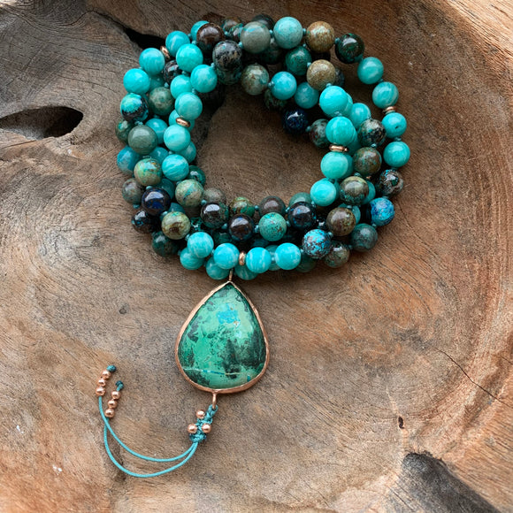 Chrysocolla and Amazonite One of a Kind Mala with Chrysocolla Guru Bead