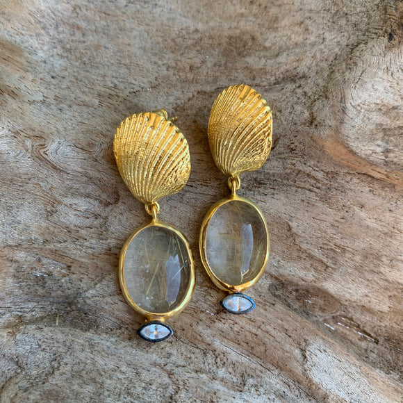 Silver - Rutilated Quartz Shell Earrings in Gold