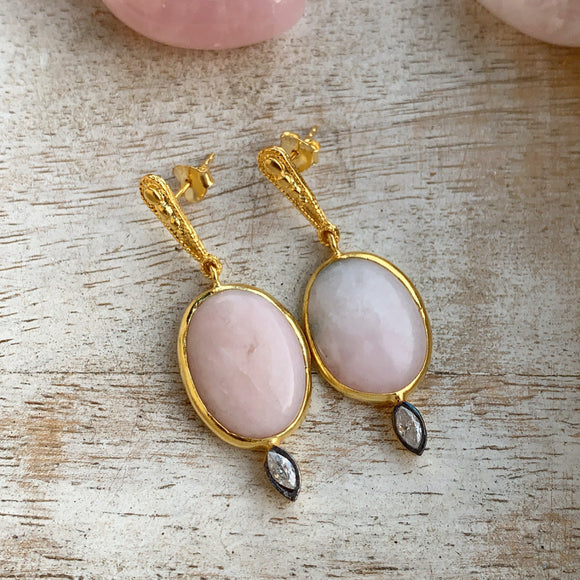 Silver - Pink Opal Earrings in Gold
