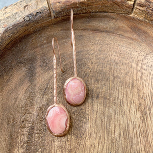 Rhodochrosite Long Earrings in Rose Gold