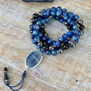 Aquamarine and Blue Kynite One of a Kind Mala with Pietersite Guru Bead