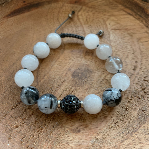 Tourmalinated Quartz 10mm Adjustable Beaded Bracelet with Silver Accents