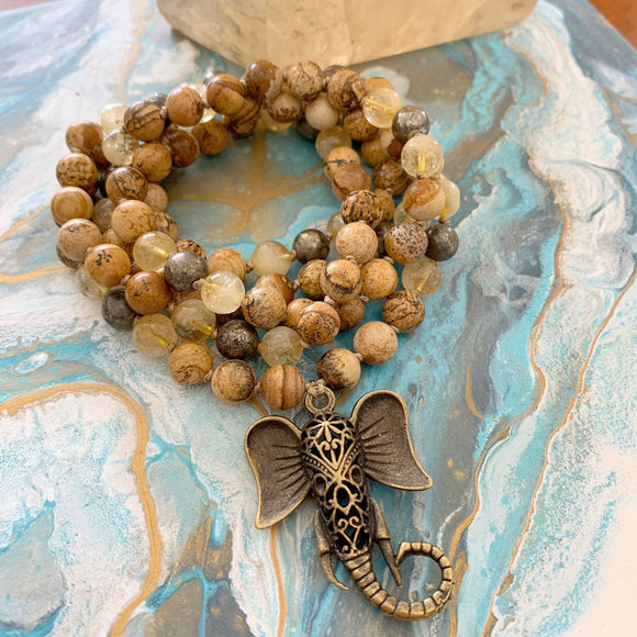 Picture Jasper, Citrine & Pyrite Mala with Ganesha Guru Bead