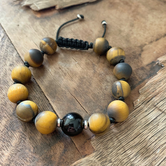 Matte Tiger's Eye & Black Tourmaline 10mm Adjustable Beaded Bracelet with Silver Accents