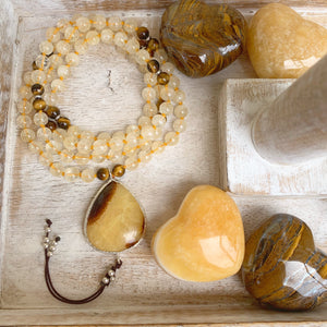 Citrine and Tiger's Eye One of a Kind Mala with Septarian Guru Bead