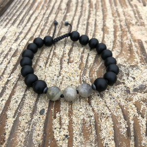 Matte Black Onyx & Labradorite 8mm Adjustable Beaded Bracelet