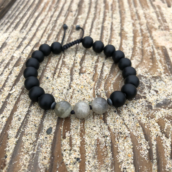 Bracelet - Matte Black Onyx and Labradorite