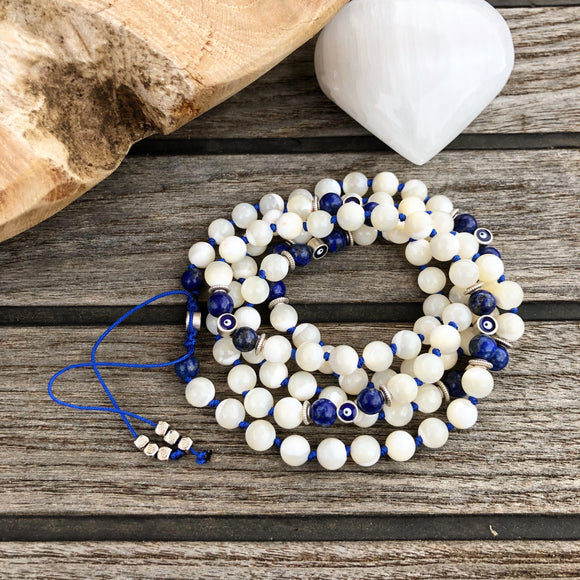 Mala - Lapis Lazuli, White Shells adjustable eye of protection