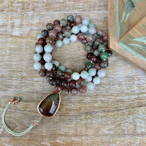 Kashgar Garnet and Burma Jade Mala with Chlorite Quartz Guru Bead