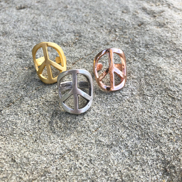 Adjustable Peace Symbol Rings Shown in Gold, Silver, and Rose Gold Finish