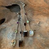 Silver - Smokey Quartz, Green Amethyst, Peridot, Garnet and Amethyst Earrings