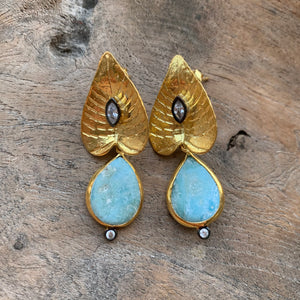 Silver - Lily Pad Larimar Earrings