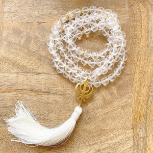 Clear Quartz Mala with Adi Shakti Guru Bead