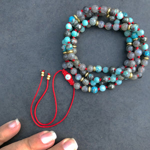 Mala - Labradorite, Ocean Jasper, Amazonite, Pyrite, Eye of protection Guru bead Adjustable