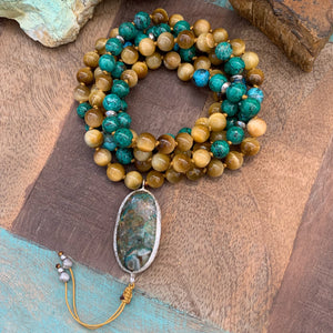 Chrysocolla and Golden Tiger's Eye Mala with Chrysocolla Guru Bead