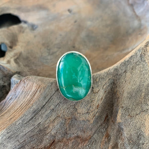 Chrysoprase Oval Ring in Silver